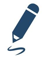 Icon Schreiben 1 blau